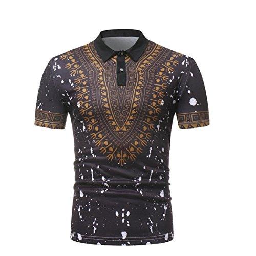 GreatestPAK African Style Revers Polo Hemd Herren Slim Fit T-Shirt Bedruckte Freizeitoberteile,Schwarz,XL