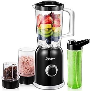 Standmixer, Decen Blender, 4 in 1 Multifunktion Smoothie Maker + Ice Crusher + Kaffeemühle mit 600ml Sport-Flasche BPA frei Tritan Mixer, 300W, 24000U/Min