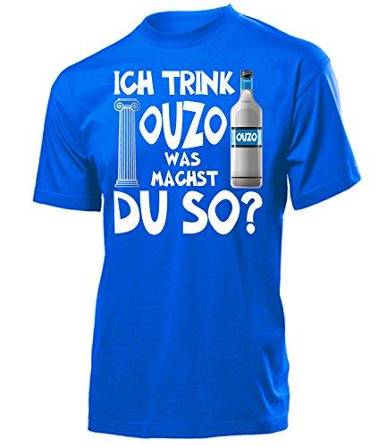 Ich Trink Ouzo was Machst du so 4923 Saufen Party Bier Herren Männer Fun Shirt Aufdruck Lustig Spruch Tshirt Geburtstag Geschenk Blau ()