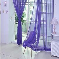 cortinas de gasa keepwin slidas cortinas finas para el dormitorio de los nios sala - Cortinas Moradas
