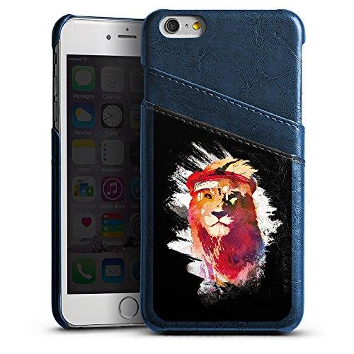 Apple iPhone 6 Lederhülle Leder Case mit Schlitz für Kreditkarte Brieftaschen Cover Löwe Lion Street Art Leder Case Navyblau