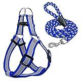 Step-In Hundegeschirr & Walking Leine Set Keine Pullig Reflektierende Nylon Hunde Weste und führt Hunde Blue S