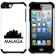 STPlus Málaga, España Postal con silueta del horizonte de la ciudad Doble Capa de Protección Rígido + Flexible Silicona Carcasa Funda Para Apple iPhone SE / 5 / 5S