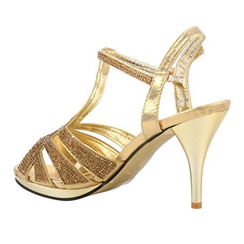 ByPublicDemand Kelis Femme Talons hauts Strass sandales Or