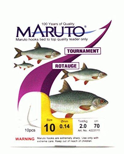 Maruto Stipp Rotaugenhaken gebunden silberfarben - 10 Angelhaken zum Stippangeln, Stipphaken, Haken zum Stippen, Friedfischhaken, Gr./Durchmesser/Tragkraft:Gr. 10 /2.0kg /0.14mm