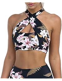 iBaste Strappy Sujetador Deportivo Mujer Sexy Estampado Floral Chaleco  Deporte Push up Cruzado Top Bra( 576cfb28485a