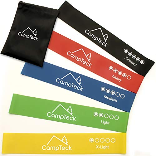 Campteck set di 5 fasce bande elastiche di resistenza cinghie latice per palestra, casa, fitness, yoga, pilates, forza, riabilitazione, fisioterapia, mobilità con borsa