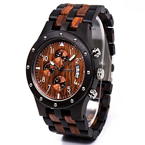 bewell luminous wooden watch multifunction and date display fashion wrist watches stopwatch for men zs-109d