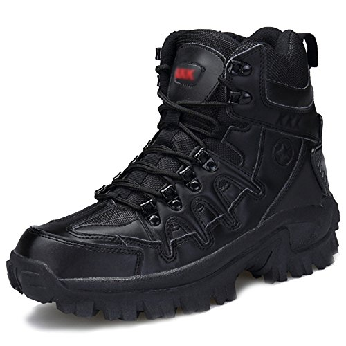 Männer Army Military Lace Ups Wüstenkampfstiefel Security Police Boot Camping Wandern Klettern Schuhe Special Forces Boot,Black-43 Lace Military Boots