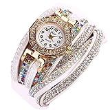 Ouneed® Uhren, Damen Luxus Marken Designer Damen Uhr Frauen-Perlen-Skala Armband Quarz Armbanduhr Kristall Diamant Uhr Frauen Kleid Uhr (Weiß)