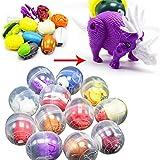 xmasir 10 Pie?Ces en Plastique Surprise Oeuf Dinosaure Capsule en Plastique avec Voiture Toy Déformation Mini Surprise Oeufs Jouets pour Enfants Enfants Cadeaux