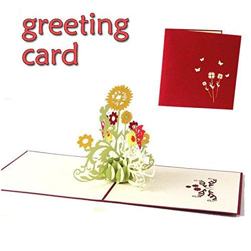 TOPmountain 3D Büttenpapierkarten 1 Stück Papier Handwerk Grußkarte Sonnenblume Gruß Cardlope Geburtstagsgeschenk Karte