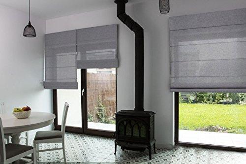 Premium-Raffrollo nach Maß, Raff-Gardinen, Vorhang, hochqualitative Wertarbeit, alle Größen verfügbar, Fenster & Türen, maßgefertigt, Klemmfix ohne Bohren (120cm Höhe x 190cm Breite/Grau)