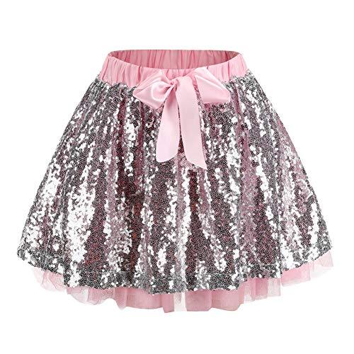 ChYoung Kinder Mädchen Mini Pailletten Tanzen Rock 2-Schicht Tüll Tutu Prinzessin Ballettkleid 3-10 - Tap Tanzen Kostüm Kinder