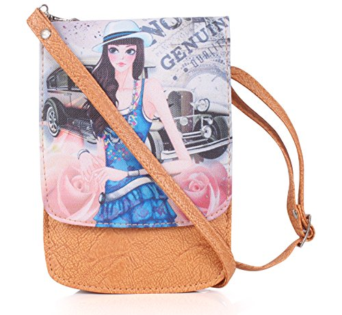 Stylish Mobile Pouch Sling Bag for girls to carry phone and cards in style - Beige