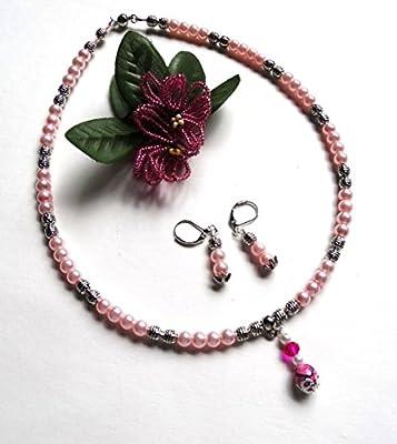 Fête des mères/Parure rose tendre argentée collier ras du cou et boucles d'oreille pendantes romantique/idée cadeau femme, Noël, Saint Valentin