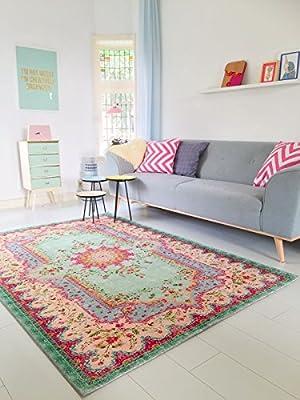 Pastell Vintage Teppich   Teppich für Wohnzimmer, Schlafzimmer, Flur (225 x155 cm)