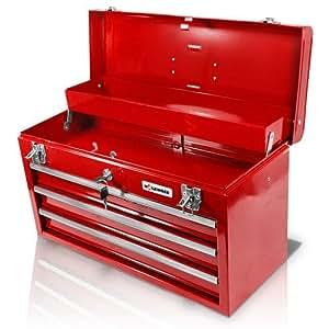Caisse à outils en métal 3 casiers avec serrure centralisée Holzinger