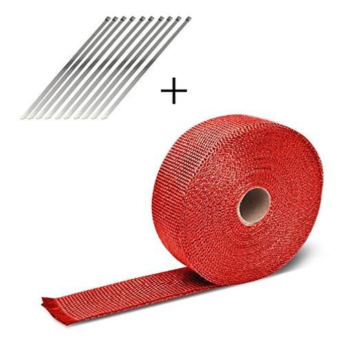 leoboone 10M de fibra de vidrio de calor de alta temperatura cinta que labra la herramienta escudo térmico Wrap rollo de coches de escape tubo colector venda caliente de la cinta