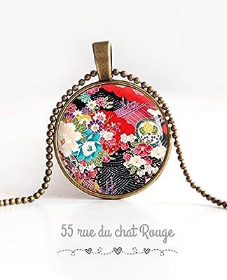 Collier pendentif cabochon, motif japonais, art floral japon, fleurs, seigahia, multicouleur
