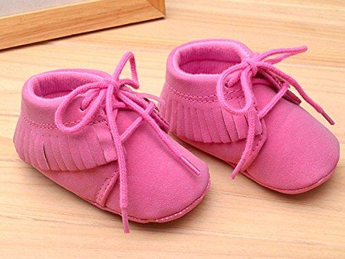 Baby-Fr¨¹hlings-Herbst-warmen netten Schuh-Kleinkind -weich Sohle Frenum Quasten-Walking-Schuhe Rosa