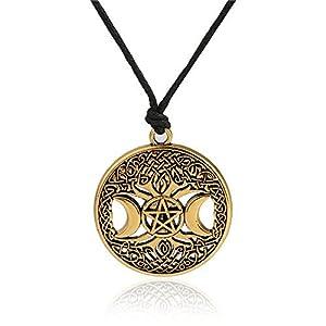fishhook Wicca Halskette mit Anhänger Baum des Lebens Dreifachmond Godness irischer Knoten hohl