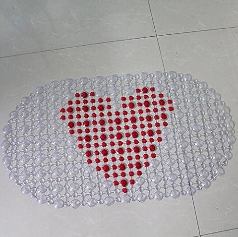 Tapis de Bain - YOKIRIN® Tapis PVC Aspiration de Bain Anti-dérapant Anti-Slip Anti-Glisse Massage des Pieds Motif Coloré - Coeur