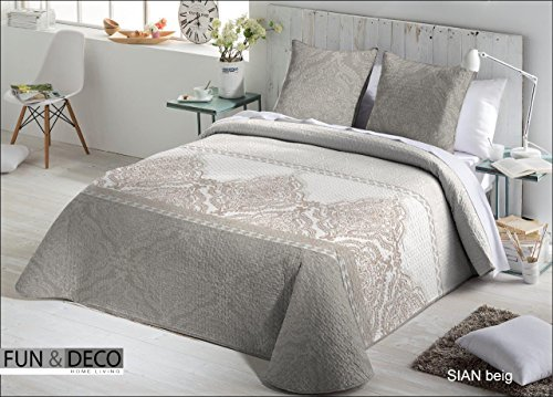 Fundeco.- Couvre-lit bouti matrimonial Sian Beige 235 x 270 cm + 2 housses de coussin 60 x 60 cm
