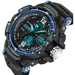 Sports Men Quartz Watch Rubber Strap LED Analogue &Digital Waterproof Casual Wristwatch,Blue