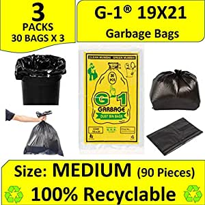 G 1 Garbage Bags Medium Size Black Color 19 X 21 Inch 90 Pieces