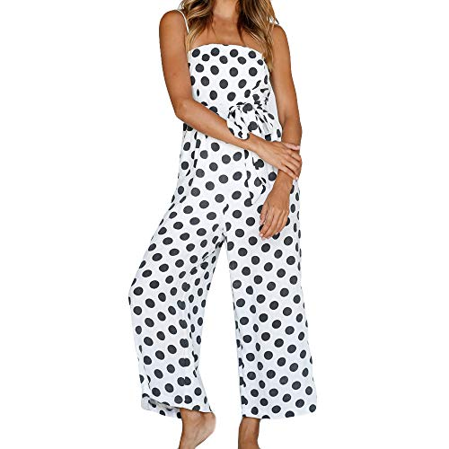 feiXIANG Damen Jumpsuit Sommer Mode Sling Sleeveless Overall Blumendruck Clubwear Casual Hosenanzug Sommer (D/Weiß,XL)