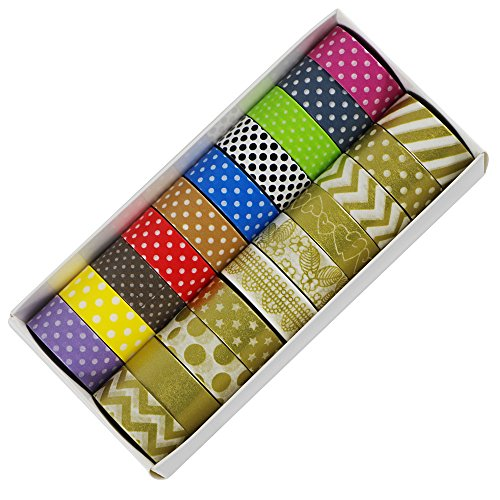 edgeam Washi Tape – Set von 20 Deko-Klebeband Masking Tape Baby-chevron Band