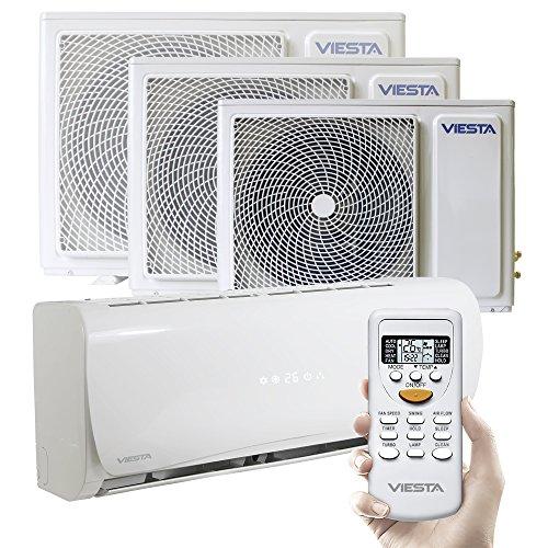 Viesta Klimaanlagen energiesparende Klima Splitgeräte - Timer- und Entfeuchter-Funktion - angenehm leise (42~48 db) - bis 24000 BTU für Räume bis 85qm - weiß, Modell:AC24 (24000 BTU)
