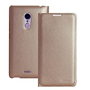 Heartly Premium Luxury PU Leather Flip Case Cover With Card Slot For LYF Water 7 - Hot Gold