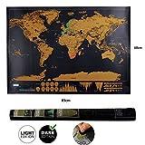 Carte du monde ,Scratch le monde Carte du monde à gratter avec Belle Rappel pour les passionnés de voyage et Globetrotter Scrape off World Map (83 x 60 cm)
