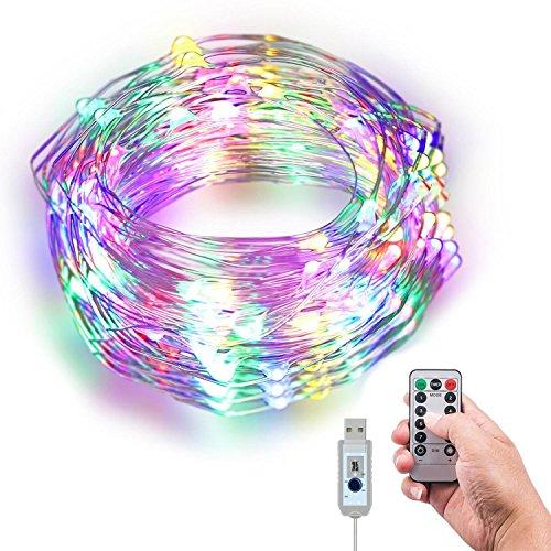 KOBWA LED Guirlande Lumineuse 10,1 m 100 pcs Fil de cuivre de LED avec télécommande Infrarouge étanche 360â ° Multicolore lumières pour Chambre à Coucher, Les fêtes Intérieur/extérieur