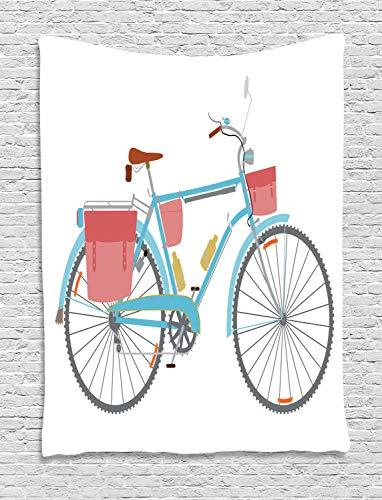 ABAKUHAUS Bicicleta Tapiz de Pared, Bolsas Clásico Tour En Bicicleta, para el Dormitorio Apto Lavadora y Secadora Estampado Digital, 150 x 200 cm