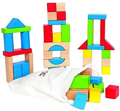 Hape HAP-E0409 Maple 50pc Wooden Block Set - Multicoloured