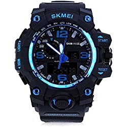 Leopard Shop SKMEI 1155 Men LED Digital Quartz Watch Dual Time Day Alarm Light Wristwatch Water Resistance Blue