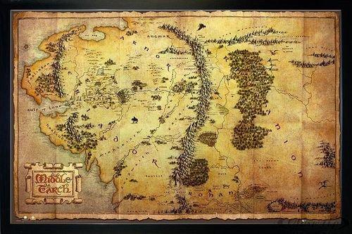 Close Up The Hobbit Poster Karte von Mittelerde (96,5x66 cm) gerahmt in: Rahmen schwarz - Poster Herr Der Ringe Gerahmte