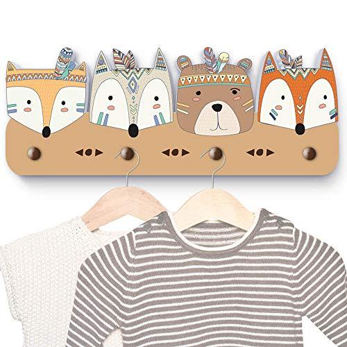 bunte Indianer Tierköpfe G2 Kindergarderobe mit 4 Haken, Maße ca.: 40 x 15 x 1 cm, Wandgarderobe, Kleiderhaken, Wandhaken, Kindermöbel, Garderobenhaken, Kinderzimmer