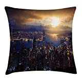 New pants Urban Decor Throw Pillow Cushion Cover by, Aerial Skyline of Night Victoria Peak Hong Kong Skyscrapers Metropolis Image, Decorative Square Accent Pillow Case, 18 X 18 inches, Blue Golden