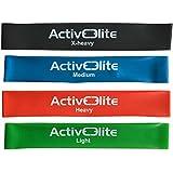 ActiveElite ✮ 4 verschiedene Fitnessbänder / Trainingsbänder / Gymnastikbänder / Übungsbänder in einem Set (Leicht, Mittel, Schwer und EXTRA-Schwer) ✮ Aus 100% Naturlatex ✮ BONUS: Transportbeutel für die Bänder