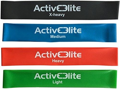ActiveElite ✮ 4 verschiedene Fitnessbänder / Trainingsbänder / Gymnastikbänder / Übungsbänder in einem Set (Leicht, Mittel, Schwer und EXTRA-Schwer) ✮ Aus 100% Naturlatex ✮ BONUS: Transportbeutel für die - Gummi-band-größen