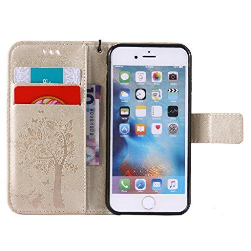 """iPhone 6 / 6S Coque, MYTHOLLOGY Rétro PU Cuir Case avec Support [Antichoc Coque] Portefeuille Étui à rabat Housse pour iPhone 6 / iPhone 6S (4.7"""") - Café Or"""