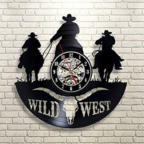 LiNingGz Schallplatte Wanduhr Texas Cowboy Thema 12 Zoll Schwarze Durchbrochene Familien Kunst Wanduhr verwendbar für Wohnzimmer Schlafzimmer Badezimmer Korridor Treppen Wand Flur dekorativ