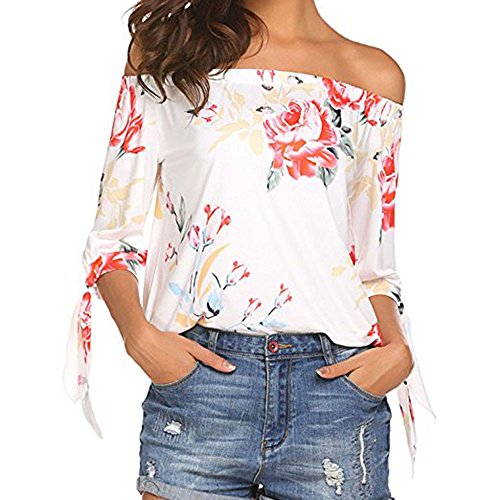 MRULIC Mädchen Blumenmuster Schulterfrei T-Shirt 3/4 Ärmel Casual Tops Neckholder Bluse (EU-46/CN-2XL, X1-Weiß) Baja Womens Sweatshirt