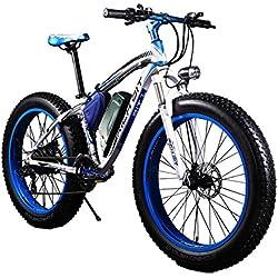 """Bicicletas eléctricas para hombre Cruiser grasa bicicleta TP012 1000W*48V*17Ah Fat tire 26""""*4.0inch 7 marchas Shimano dearilleur de ciclismo azul"""