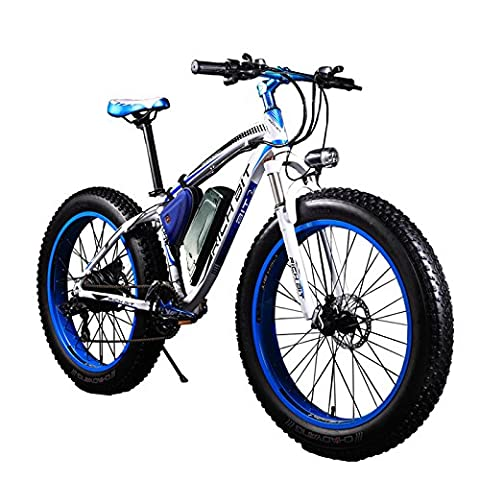 Rich Bit®RT-012 1000W Electric Bike eBike Cruiser Bicycle Cycling 48V 17Ah High Capacity Battery 21Speed 7 Gears Suspension Fork Double Mechanical Disc Brake 4.0 Fat Tire Snow Bike Shimano Derailleur Long Duration New fashion Painting (BLUE)