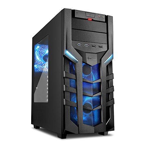 Sharkoon DG7000 PC-Gehäuse mit Window Kit (2x USB 3.0, 2x USB 2.0, 3x 140 mm LED-Lüfter) blau -
